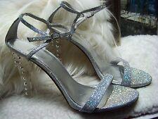 Stuart Weitzman Glittony Lucite-Heel Glitter Sandal Size 9.5 M $560