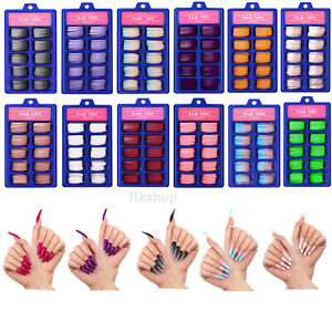 100Pcs/Set False Nail Tips Acrylic Full Cover Long Coffin Fake Nail Art Manicure