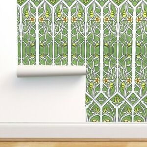 Removable Water-Activated Wallpaper Green Branches Vine Spring Summer Sprouts