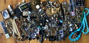 Huge Vintage Junk Drawer Lot Watches Jewelry Recovery