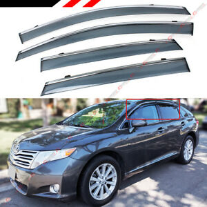 FOR 2008-2016 TOYOTA VENZA CLIP ON SMOKE TINTED SIDE WINDOW VISOR W/ CHROME TRIM