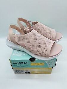 Skechers Women Ultra Flex New Age Engineered Knit Slingback Sandals Blush US 8M