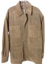 TRAVEL SMITH Mens Khaki Tan Suede Leather Jacket Size Large Travelsmith