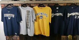 Milwaukee Brewers MLB Baseball T-Shirt Jersey Lot Of 5 Mens Sz Large Five Shirts
