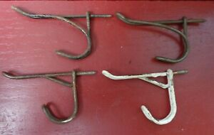 4 VINTAGE FARMHOUSE SHABBY WIRE HOOKS #2