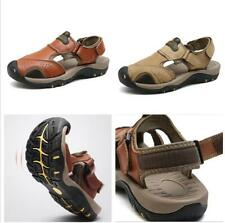 Men's Summer Hiking Comfy Leather Sandals Beach Shoes Closed Toe Fisherman Flats