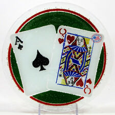 """Peggy Karr PLAYING CARDS - TWENTY ONE 7.75"""" Round Plate Fused Glass Mint Queen"""