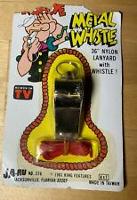 Popeye 1981 Vintage Ja-Ru METAL WHISTLE With Nylon Lanyard RARE!