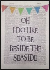 Beside Seaside Vintage Dictionary Print Wall Art Picture Print Beach Nautical