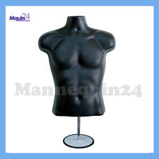 Male Mannequin Torso Form - Black Dress Form w/ Stand & Hanging Hook