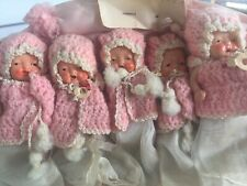 Dionne Quintuplets Bisque Jointed Baby Dolls about 4' tall basket display