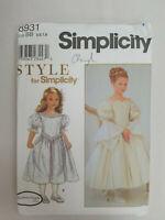 Simplicity Sewing Pattern Girls DRESS Flower 8931 Barbara Canfer 5-6-7-8 UC