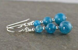 Ocean Blue Apatite Gemstone & Sterling Silver Hook Drop Earrings + Gift Box