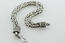 Vintage Bali Indonesia Sterling Silver Double Row 4mm Byzantine Hook Bracelet