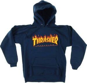 THRASHER FLAME LOGO MENS (NAVY BLUE) HOODIE 100% AUTHENTIC SZ. MEDIUM NWT