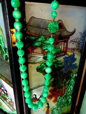 VINTAGE JADE PEKING GLASS BEAD NECKLACE CARVED CLASP STAMPED NEWHOUSE