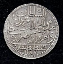 Turkey Ottoman Empire 2  Zolota KM# 401  AH 1187 //4   Silver Coin  1774  VF