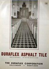 DURAFLEX ASPHALT TILE Mastic ASBESTOS Floor Flooring Catalog 1945