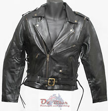 Motorcycle Leather Jacket Brando Mens -SMALL-Oz Biker - REMOVABLE ARMOUR & LINER