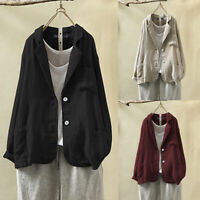 UK Women Cotton Linen Trench Coats Buttons Autumn Winter Jackets Blazer Outwear