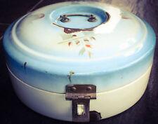 Vintage Enamel Bread Box Enamelware Dutch Round Breadbox ART DECO