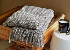 Grey Woven Soft Acrylic Throw Sofa Bed Rug Blanket Gift Packed 127CM x 152CM