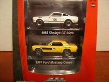 GREENLIGHT 1:64 SCALE DIECAST METAL WHITE 2-PACKS 1965 AND 1967 FORD MUSTANGS