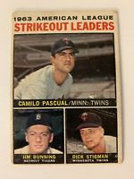 "1964 Topps # 6 ""Strikeout Leaders"" Bunning / Pascual / Stigman"