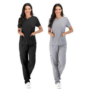 AU Women Contrast Scallop Medical Hospital Nursing Uniform Scrubs Set Top&Pants