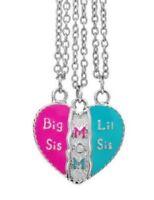 3 colliers coeur a séparer pour une mère et ses 2 filles: lil sis, mom, big sis.