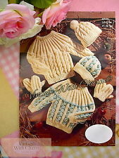 Large Print Knitting Pattern Baby's Aran Jumper Hat & Mittens in 2 Colours or 1