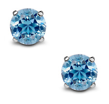 2Ct Blue Topaz Solitaire Stud Earrings In 18K White Gold Over Sterling