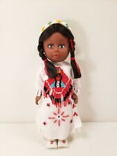 Vintage Native American Indian Girl Doll Plastic Faux Leather Beaded Dress
