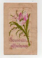Fantaisie - carte brodée - Souvenir affectueux   (J2453)