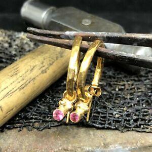 Handmade Designer Ruby Hoop Earrings 925K Sterling Silver Turkish Jewelry