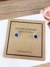 925 Sterling Silver Crystal Blue Sapphire Stud Earrings Vintage