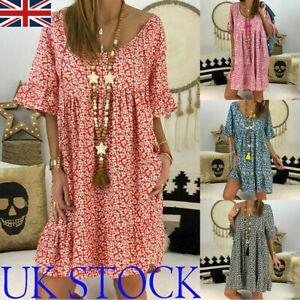 Plus Size Women Boho Loose Tunic Dress Ladies Summer Beach Baggy Kaftan Dress UK