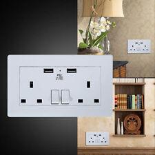 NEW Twin Gang UK Mains Double Plug Socket & 2 Port USB Power 2A Wall Plate