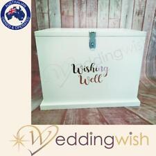 Large White Wooden Wishing Well Rose Gold Wording, Lockable Wedding Card Box