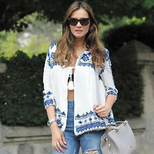 Womens Vintage Shawl Coat Cardigan Loose Blouse Boho Tops Shirts T-Shirt White