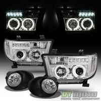 For 07-13 Toyota Tundra Dual Halo Projector DRL LED Head Lights+Fog Lamps+Switch