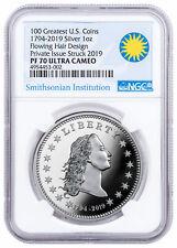 2019 Smithsonian America's First Silver Dollar 1 oz Medal Ngc Pf70 Uc Sku57384