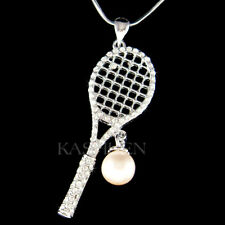 Big Tennis Racket made with Swarovski Crystal Pearl Ball Racquet Sports Necklace