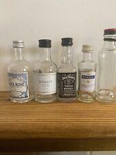5 X Empty Miniature Spirit Bottles, Rock Rose, Martell,Grouse,Jack, jeffreys