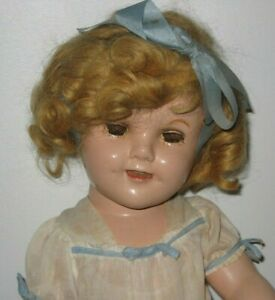 """1930's Ideal Shirley Temple Composition Doll 18"""" tall #DE156"""