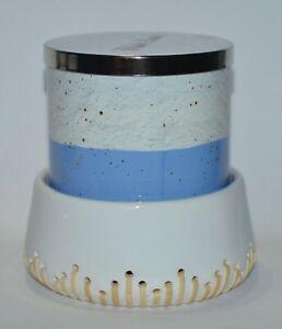 BATH BODY WORKS WHITE CERAMIC BASKET LARGE 3 WICK CANDLE HOLDER SLEEVE 14.5OZ
