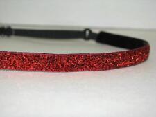 RED Thin Glitter Headband no slip adjustable USA Olympics non sweaty Hair Bands