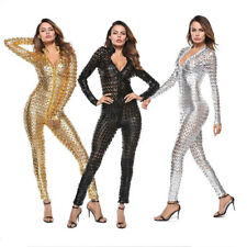 4XL Plus Size Women Sexy Zipper PU Leather Clubwear Jumpsuit Bodysuit Catsuit