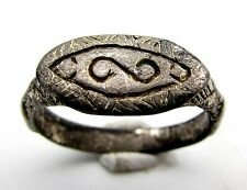 VIKING ERA GOLD-GILDED SILVER RING W/ RUNIC SYMBOLS - WEARABLE ARTIFACT - F73
