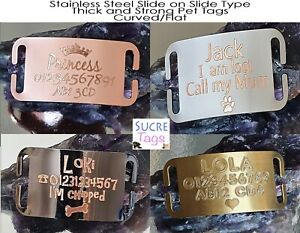 FLAT & CURVED SLIDE ON COLLAR ENGRAVED ID NAME PERSONALISED PET DOG CAT TAG